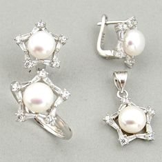 925 silver 15.50cts natural white pearl pendant ring earrings set c6435