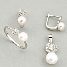 8.54cts natural white pearl 925 silver pendant ring earrings set c6436
