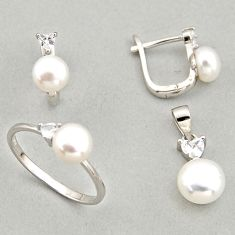 925 silver 7.89cts natural white pearl pendant ring earrings set c6444