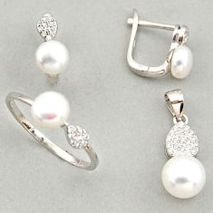 925 silver 8.22cts natural white pearl pendant ring earrings set c6447