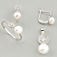 925 silver 8.54cts natural white pearl pendant ring earrings set c6451
