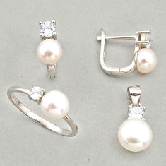 925 silver 8.83cts natural white pearl pendant ring earrings set c6455