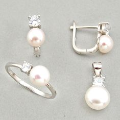 8.38cts natural white pearl 925 silver pendant ring earrings set c6456