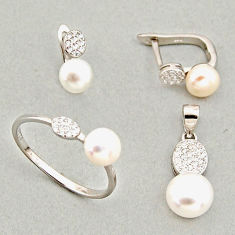 925 silver 7.53cts natural white pearl pendant ring earrings set c6459