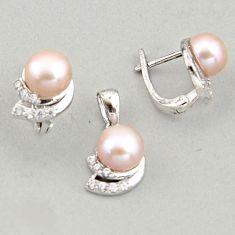 10.04cts natural white pearl topaz quartz 925 silver pendant earrings set c6460