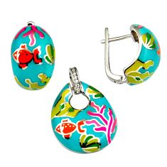 9.87gms multi color enamel 925 sterling silver pendant earrings set c6503