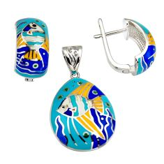 9.69gms multi color enamel 925 silver pendant earrings set jewelry c6508