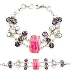 Natural pink rhodochrosite inca rose (argentina) 925 silver bracelet d10350