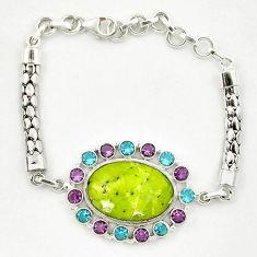Natural yellow lizardite (meditation stone) topaz 925 silver bracelet d10353