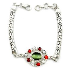 Green cats eye garnet pearl 925 sterling silver bracelet jewelry d10357