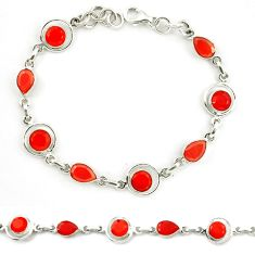 Clearance Sale- Natural orange onyx 925 sterling silver tennis bracelet jewelry d10361