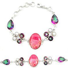 Natural pink rhodochrosite inca rose (argentina) 925 silver bracelet d13283