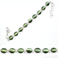 Green cats eye 925 sterling silver tennis bracelet jewelry d13285