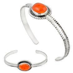 Natural orange cornelian (carnelian) 925 silver adjustable bangle d13320