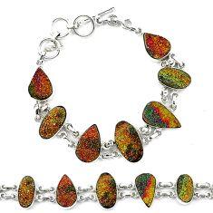 Golden druzy 925 sterling silver bracelet jewelry d13821