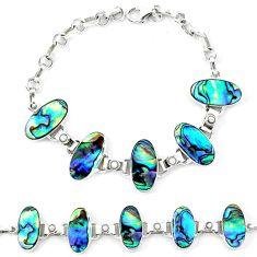 Natural green abalone paua seashell pearl 925 silver bracelet d13827