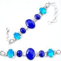 Clearance Sale- Natural blue lapis lazuli topaz quartz 925 silver bracelet jewelry d13832