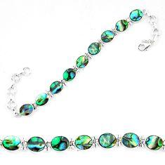 Natural green abalone paua seashell 925 sterling silver tennis bracelet d13856