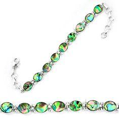 Natural green abalone paua seashell 925 sterling silver tennis bracelet d13859