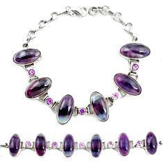 Natural multi color fluorite amethyst 925 silver tennis bracelet d17958