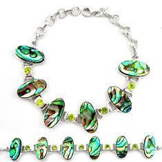 Natural green abalone paua seashell peridot 925 silver tennis bracelet d17971