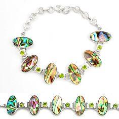 Natural green abalone paua seashell peridot 925 silver tennis bracelet d17976