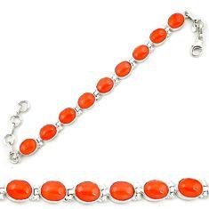 Natural orange cornelian (carnelian) 925 silver tennis bracelet d18022