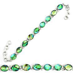 Natural green abalone paua seashell 925 sterling silver tennis bracelet d18039
