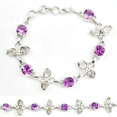 Natural purple amethyst herkimer diamond 925 silver tennis bracelet d18061