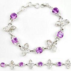 Natural purple amethyst herkimer diamond 925 silver tennis bracelet d18062