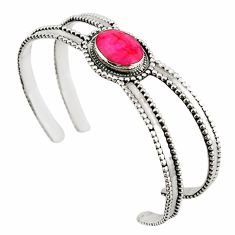 Natural red ruby oval shape 925 sterling silver adjustable bangle d18072