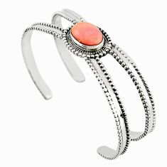 Clearance Sale- Natural pink opal 925 sterling silver adjustable bangle jewelry d18075