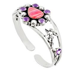 Natural pink rhodochrosite inca rose 925 silver adjustable bangle d18077