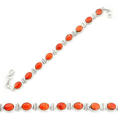 Red copper turquoise 925 sterling silver tennis bracelet jewelry d20269
