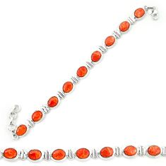 Red copper turquoise 925 sterling silver tennis bracelet jewelry d20270