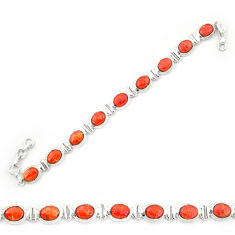 Red copper turquoise 925 sterling silver tennis bracelet jewelry d20272