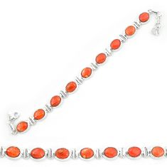 Red copper turquoise 925 sterling silver tennis bracelet jewelry d20274