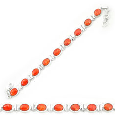 Red copper turquoise 925 sterling silver tennis bracelet jewelry d20278