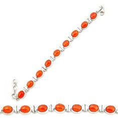Natural orange cornelian (carnelian) 925 silver tennis bracelet d20297