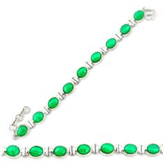 Clearance Sale- Natural green malachite (pilot's stone) 925 silver tennis bracelet d20306