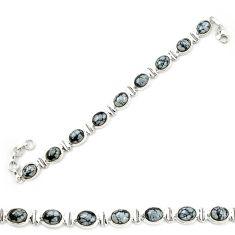 925 sterling silver natural black australian obsidian tennis bracelet d20315