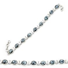 Clearance Sale- Natural black australian obsidian 925 sterling silver tennis bracelet d20320