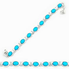 Clearance Sale- Natural blue magnesite 925 sterling silver tennis bracelet jewelry d20328