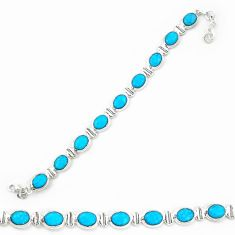 925 sterling silver natural blue magnesite oval tennis bracelet jewelry d20329