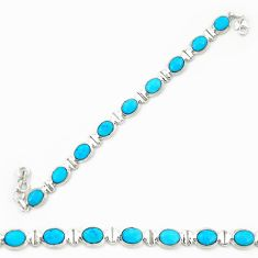 Natural blue magnesite 925 sterling silver tennis bracelet jewelry d20330