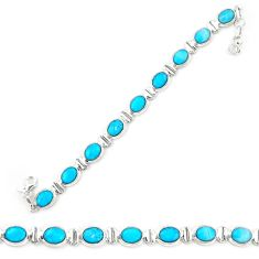 Natural blue magnesite 925 sterling silver tennis bracelet jewelry d20331