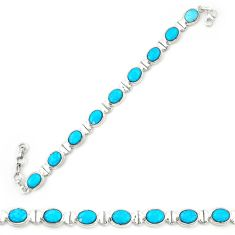Natural blue magnesite 925 sterling silver tennis bracelet jewelry d20332