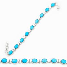 Natural blue magnesite 925 sterling silver tennis bracelet jewelry d20333