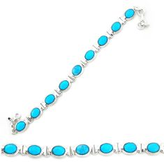 Natural blue magnesite 925 sterling silver tennis bracelet jewelry d20334