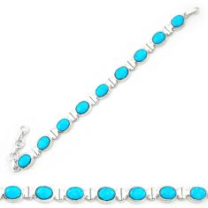 Natural blue magnesite 925 sterling silver tennis bracelet jewelry d20335